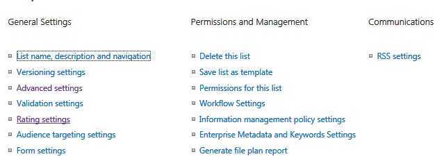 Sp daily tips sharepoint 2013 list item rating stars likes and select the rating method ie which votingrating experience you would like to enable for this list publicscrutiny Gallery