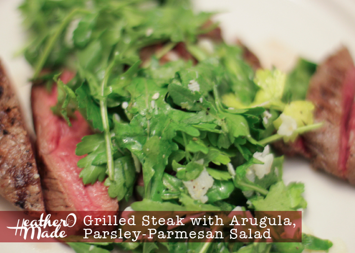 grilled steak with arugula parsley parmesan salad. lunch. dinner. recipe. grilling. heatheromade.