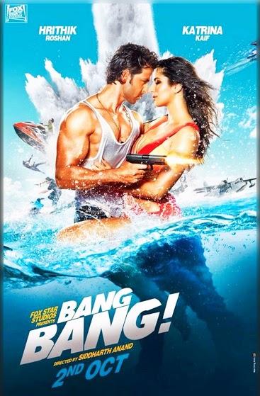 Bang Bang (2014) Hindi Movie Poster Hrithik Roshan and Katrina Kaif