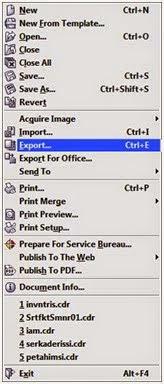 Langkah 3 Di sini anda tinggal mengeksportnya ke dalam bentuk JPG adapun caranya klik menu file – Eksport (Ctrl+E)