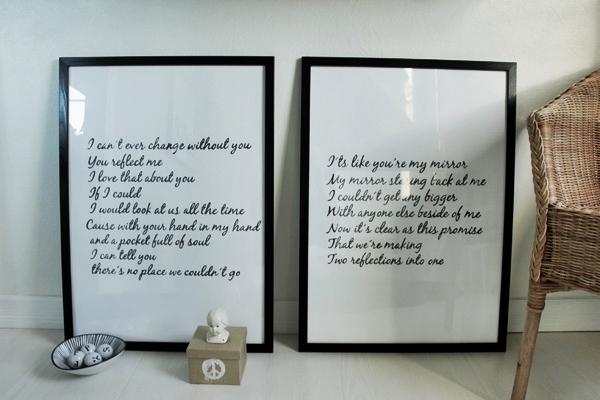 tavlor i svart och vitt, tavlor med text, posters låttext, artprints svart vitt, svarta och vita tavlor, inredning tavlor, inreda med tavlor, på väggen