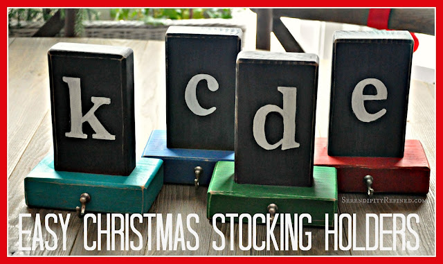 Serendipity Refined Easy Wooden Christmas Stocking Holder Tutorial