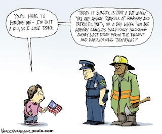 Neal Obermeyer cartoon: Police and firefighters as heroes or drain on taxpayers?