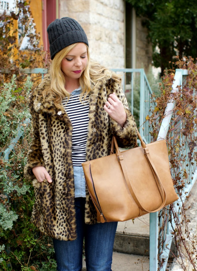 winter layering with a fur leopard coats