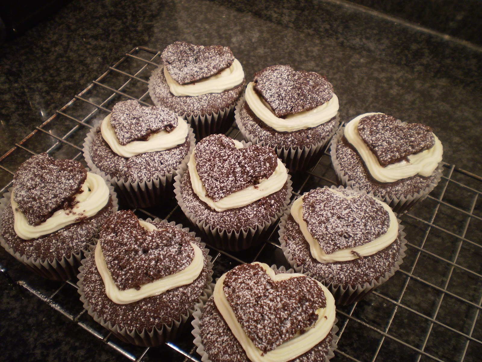 chocolate Guinness cupcakes decorated for valentines day