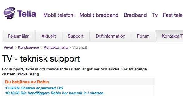 chatta med telia support