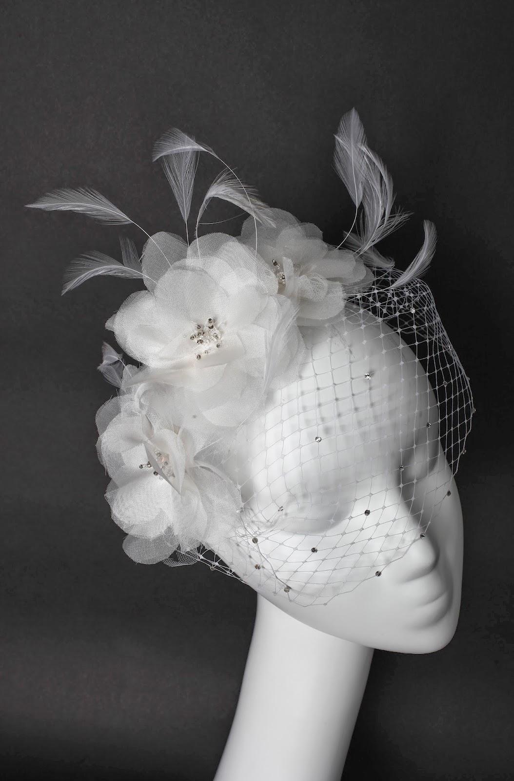 Silk Flowers Birdcage Veil