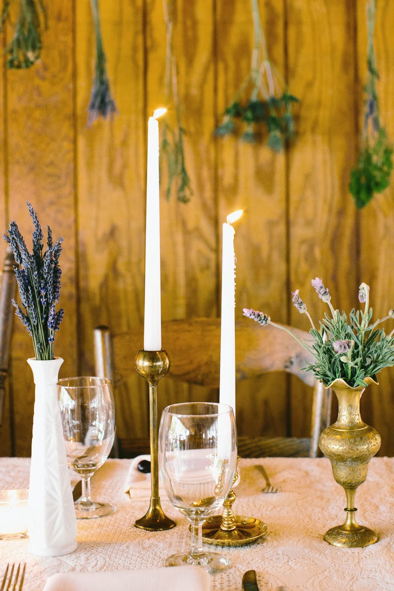 Vintage Brass Candlesticks via Borough Vintage Rentals