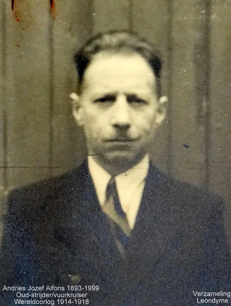 Jozef Alfons Andries 1893-1999, oud-strijder/vuurkruiser 1914-1918.Foto Legerarchief Evere