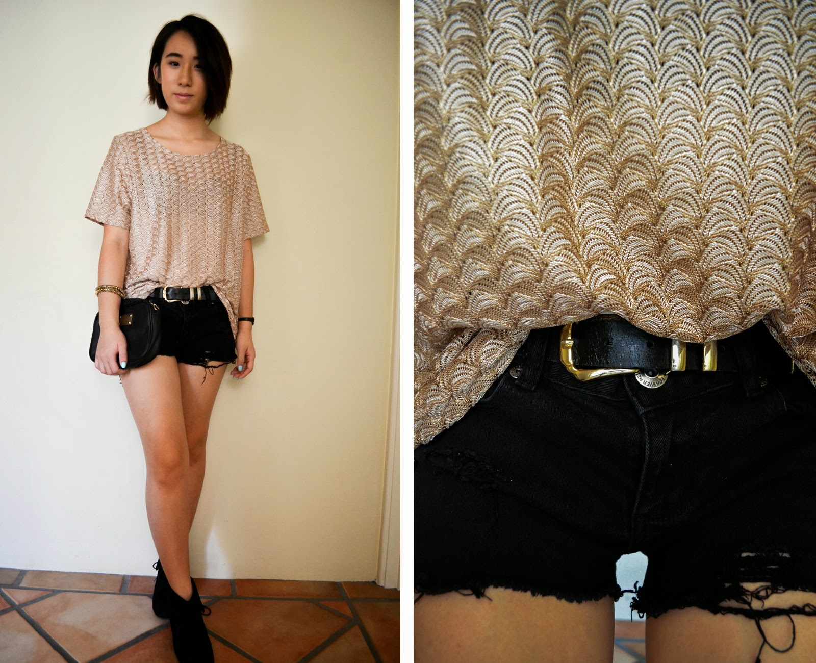 gold black inspiration look style outfit fashion boots belt denim cutoffs distressed diy shorts top thrifted clutch bag
