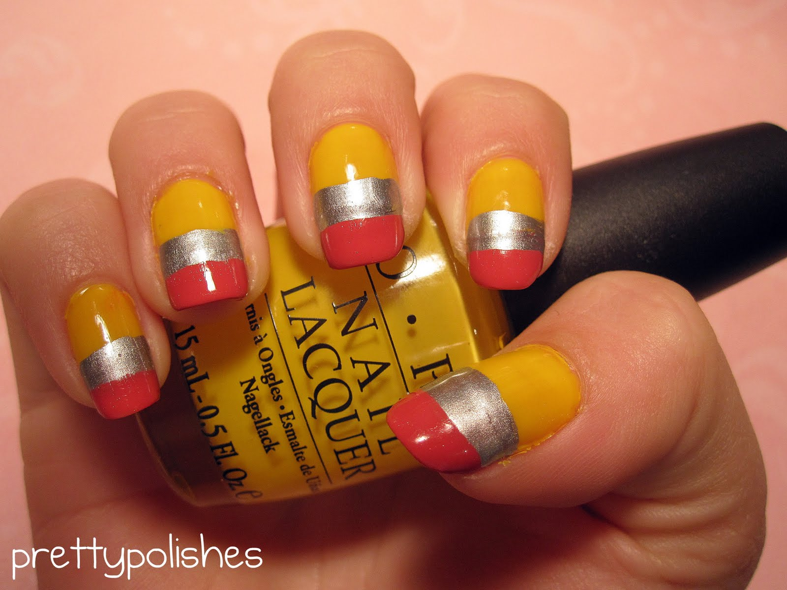 prettypolishes: Back-To-School Pencil Inspired Nail Art
