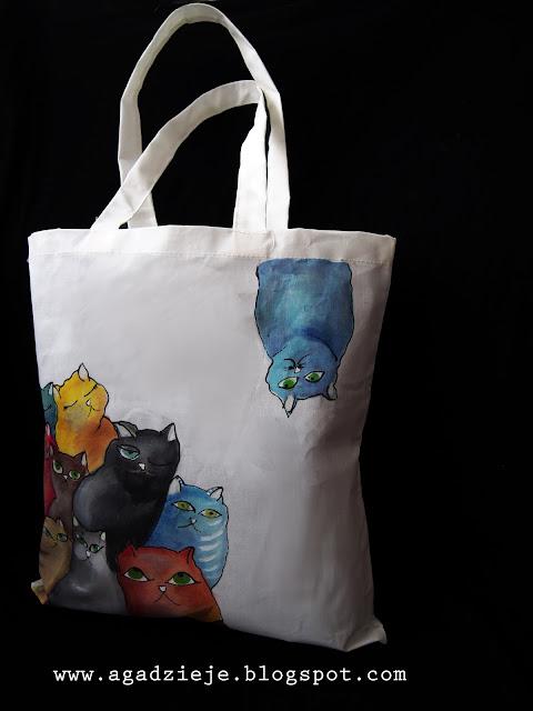 Kolorowe koty ( torba ręcznie malowana )