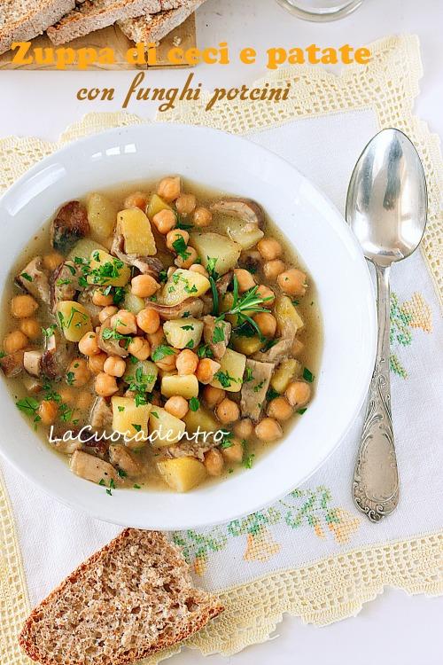 zuppa di ceci e patate con funghi porcini
