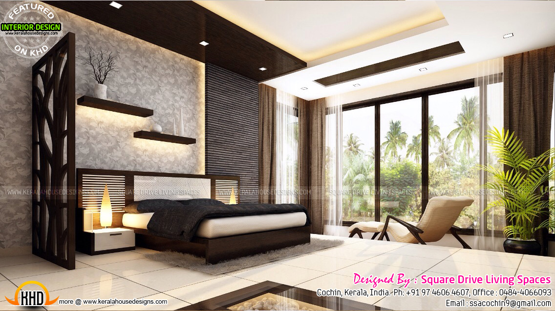 Attractive home interior ideas kerala home design and for Interior wallpaper designs india