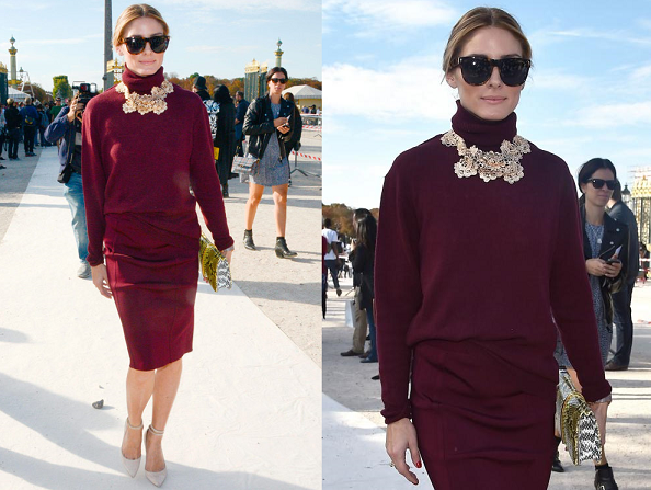 Olivia Palermo - PFW S/S15, Total Berry Outfit+Nude Pumps