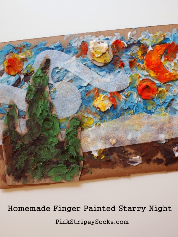Finger Paint the Classics:  Make this 3 ingredient homemade finger paint and then paint Van Gogh's Starry Night with your preschooler!