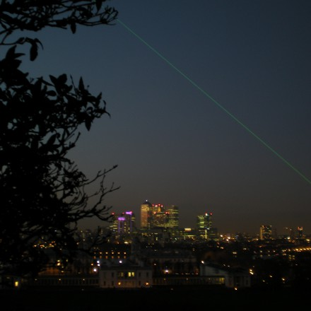 the Meridian Laser over London Skyline