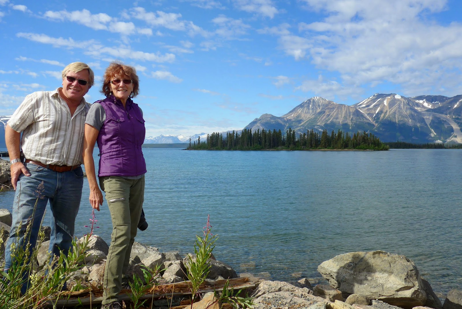 Anders and Liz on the shores of Atlin Lake, BC