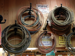Ropes used by local cowboys for sale in Wall Drug in South Dakota