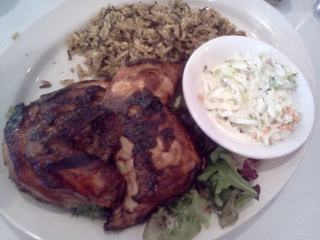 Norman's Bistro Brazilian Chicken Wild Rice and Creamy Coleslaw