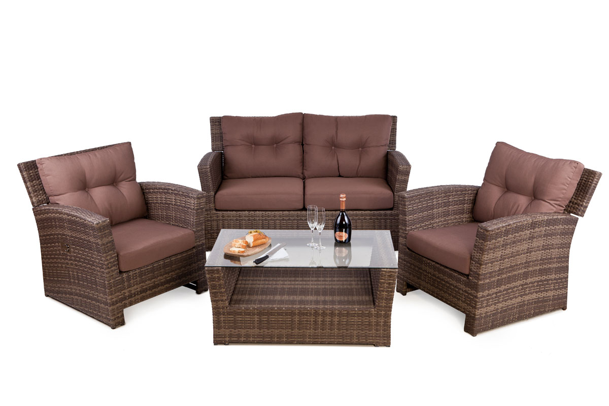 rattan 4 seater sofa set for outdoor with reclining lounge chairs and sofa free uk delivery - Rattan Garden Furniture 4 Seater