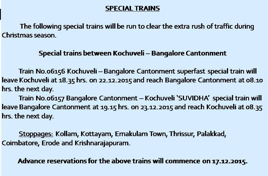 Christmas 2015 Special trains between Kochuveli to Bangalore Cantonment