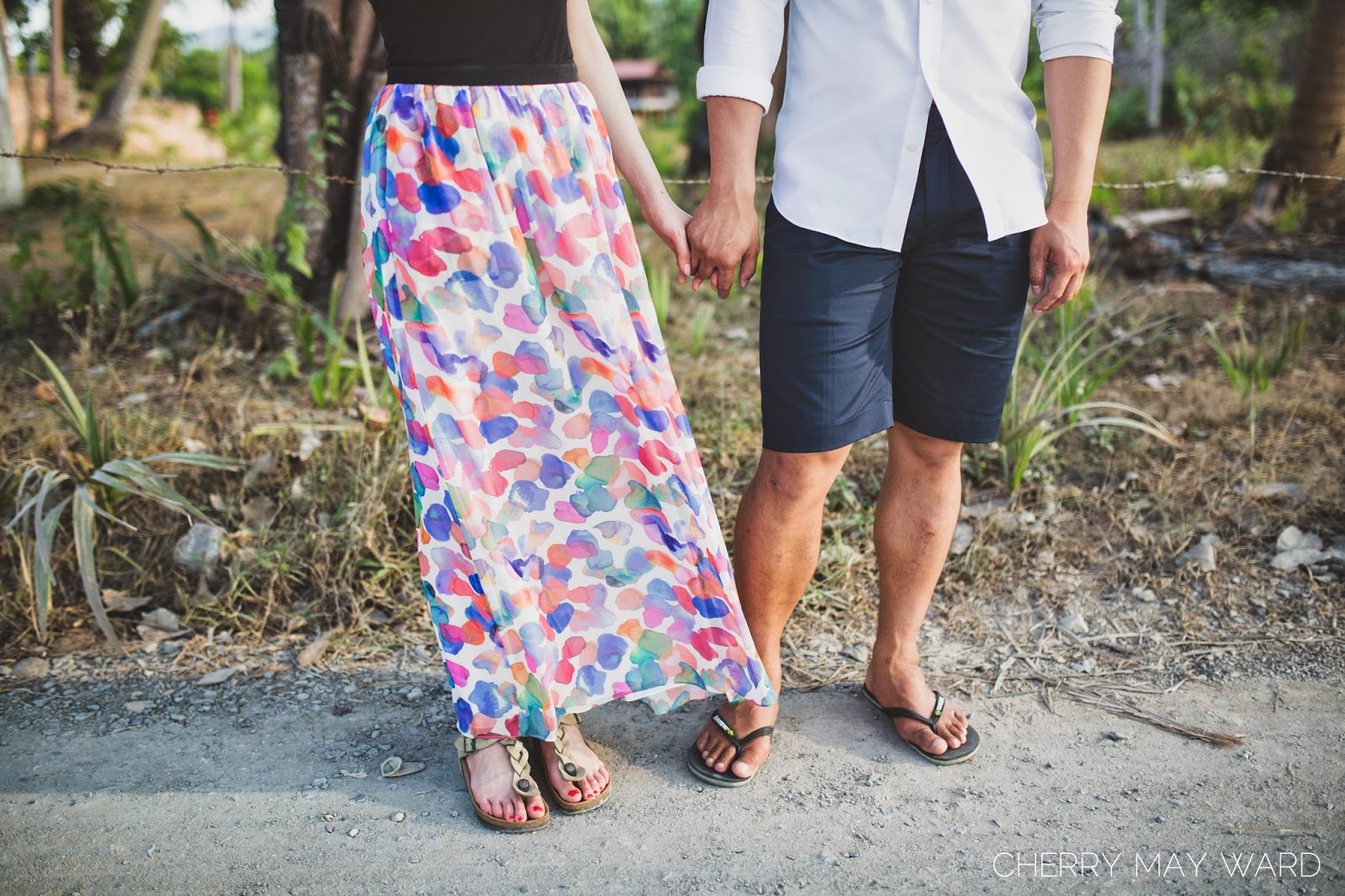 colourful skirt, engagement session outfit, fun colours, happy couple, holding hands, Koh Samui,