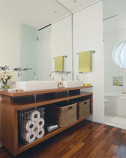 Banheiros -> Bancada De Banheiro Com Pastilha De Vidro