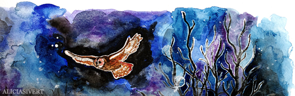 aliciasivert, alicia sivert, alicia sivertsson, aquarelle, akvarell, painting, målning, watercolor, watercolour, water color, colour, owl, uggla, kattuggla, ugglevandring djurgården, stockholms ornitologiska förening