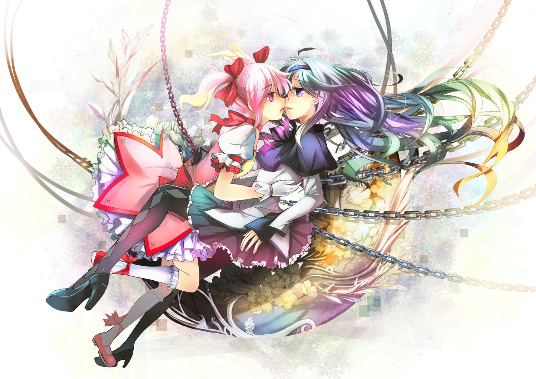 Yuri & Yaoi Konachan.com+-+95321+akemi_homura+chain+dress+flowers+fuyouchu+kaname_madoka+mahou_shoujo_madoka_magica+pink_hair+twintails+yuri
