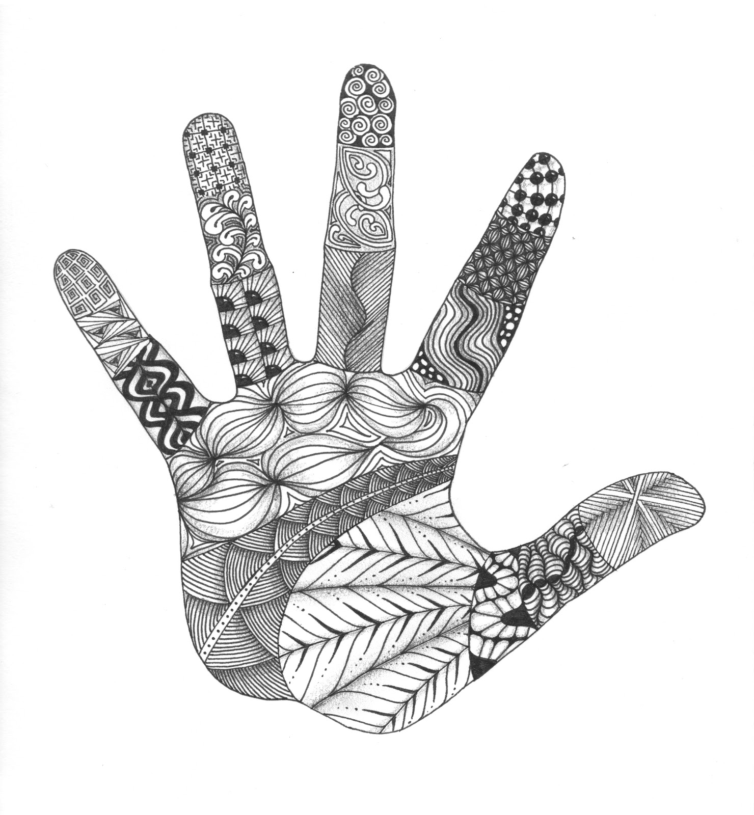 Zentangle art hand
