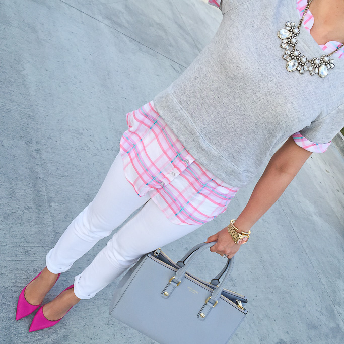 AG white jeans Anthropologie petite trinity layered sweatshirt Henri Bendel west 57th grey purse, Kate Spade lottie pink pumps Loft crystal necklace Michael Kors runway gold watch