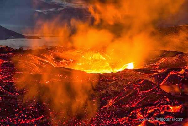 alta temperatura de la lava