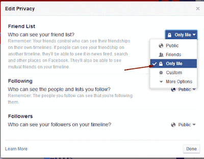Hide Your Friend List from Others In Facebook