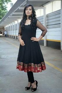 Actress Spoorthi Picture Gallery in Black Salwar Kameez at Pokkiri Mannan Audio Launch  0015