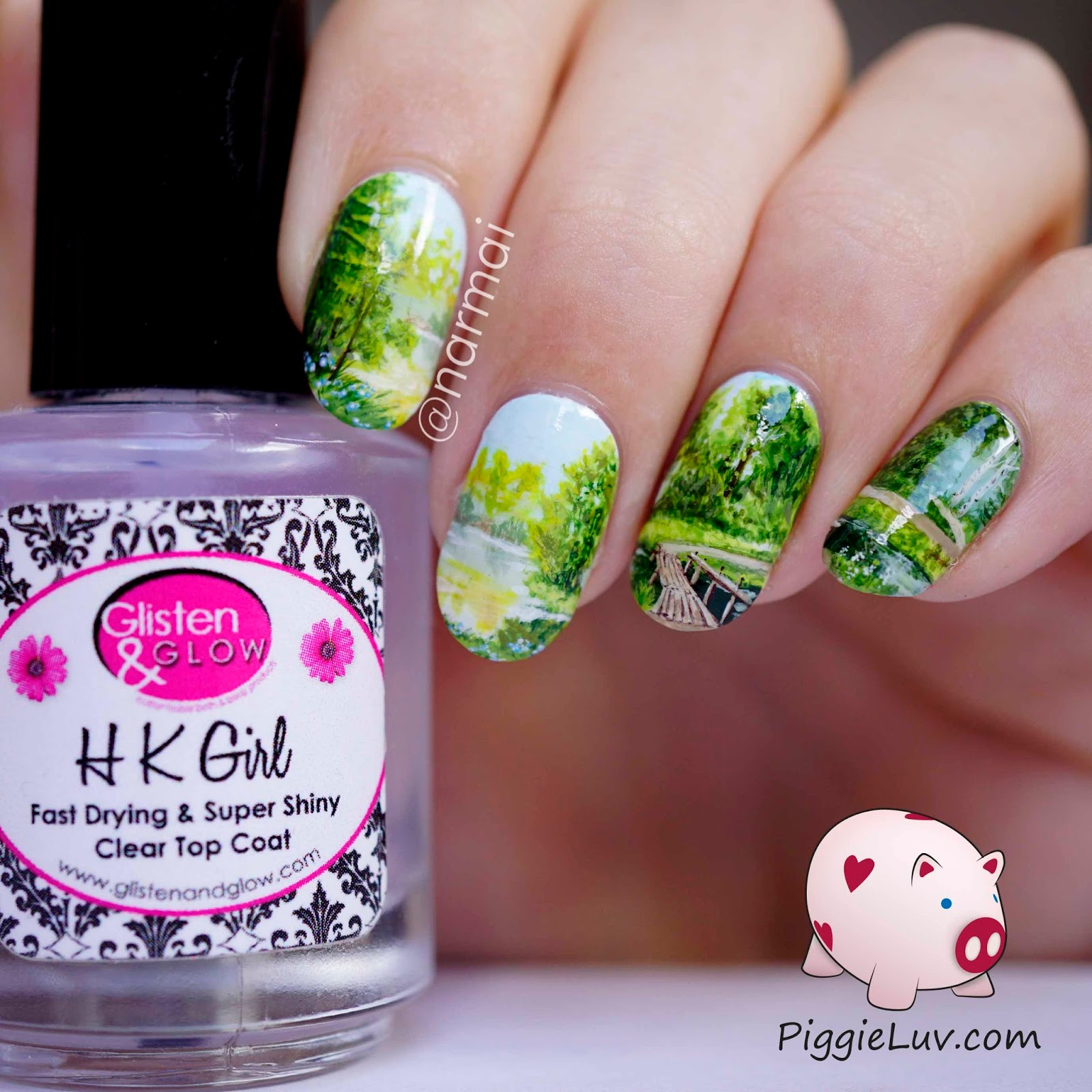 PiggieLuv: Freehand \'Path to serenity\' nail art