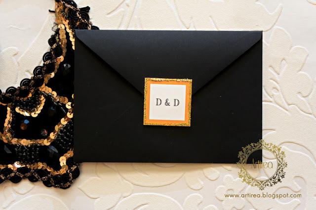 eleganckie zloto bialo czarne zaproszenia slubne w stylu art deco artirea