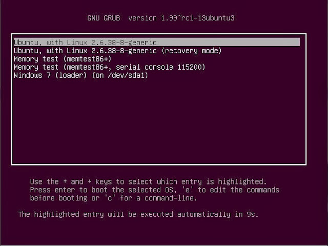 tampilan booting Ubuntu Dual Boot Windows