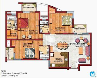 Czar Suites :: Floor Plans:-G+13 3 Bedroom (Luxury) Type B Area - 1875 sq. ft.