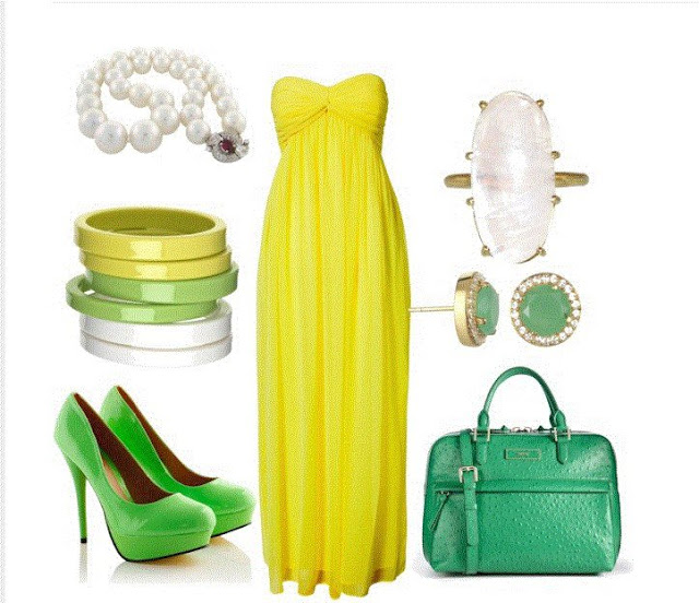 Yellow party gown, green high heel sandals, hand bag and ear rings for ladies