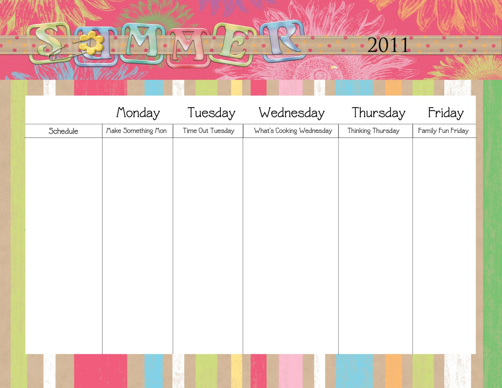 The second calendar you can download is completely blank so that you