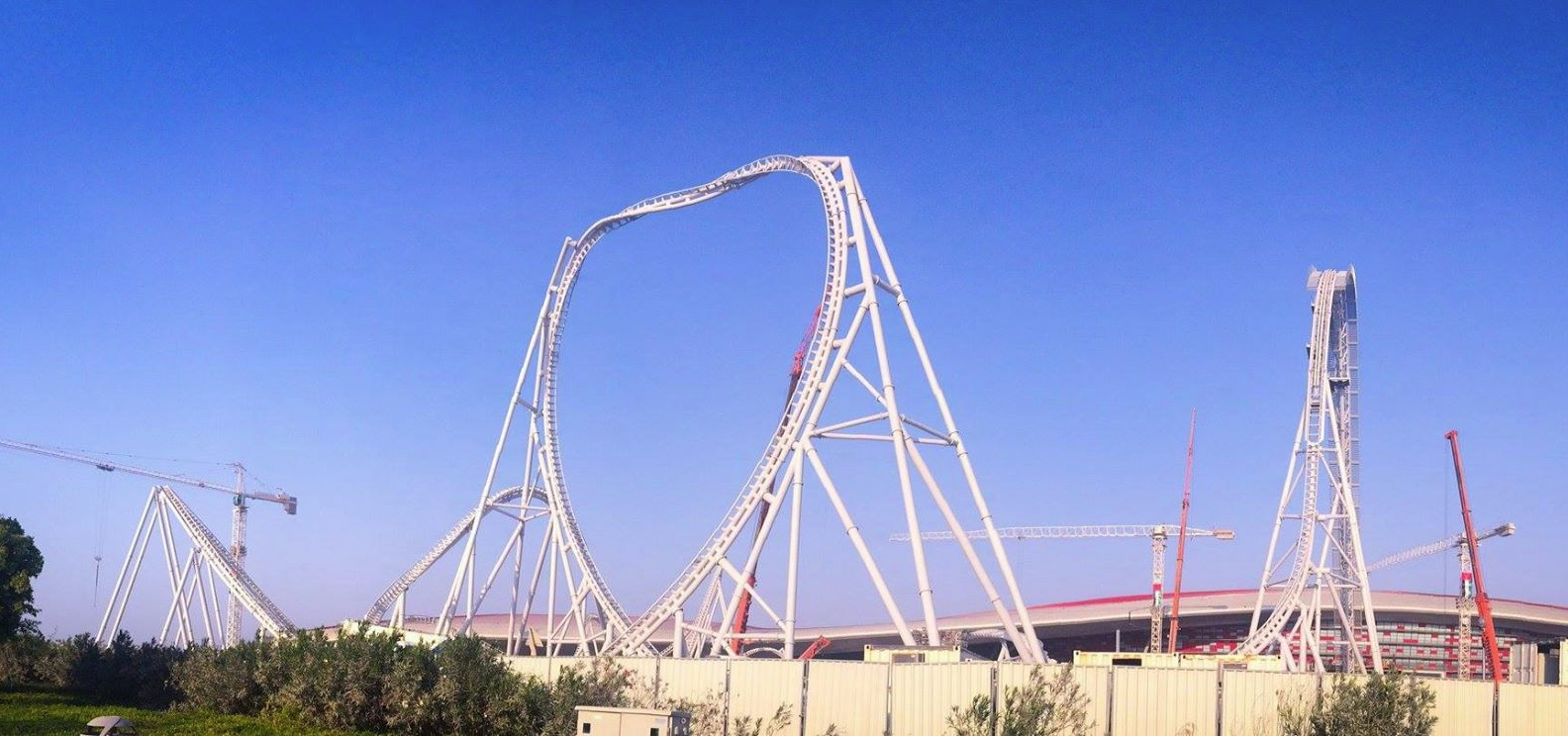 newsplusnotes ferrari world abu dhabi wraps up construction of new intamin c. Cars Review. Best American Auto & Cars Review