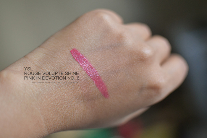 YSL Rouge Volupte Shine Lipstick Pink in Devotion No6 Swatch FOTD Photos Review Indian Makeup Beauty Blog