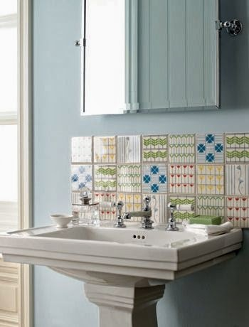 pedestal sink light blue paint bathroom bathroom sink backsplash idea