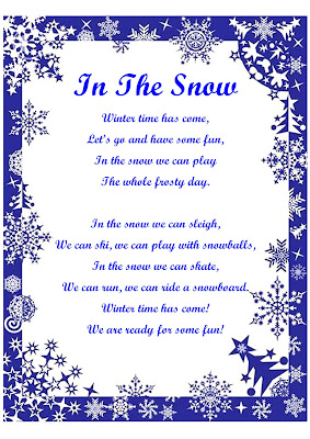 winter activities song lyrics, ESL