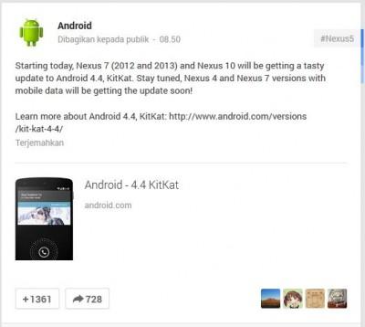 Hari ini Nexus 7 dan Nexus 10 Dapatkan Update Android 4.4 KitKat