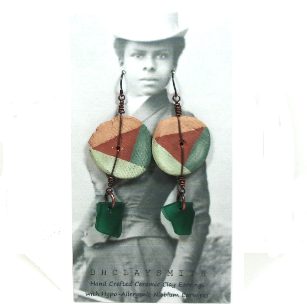 Tri-color Disc Earrings with Sea Glass