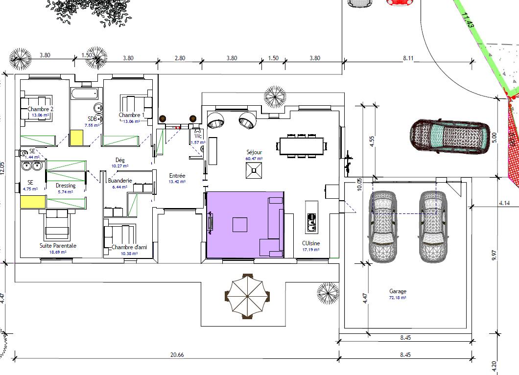 Plan de maison plain pied 4 chambres avec garage for Plan maison gratuit plain pied