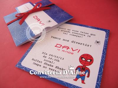 convite infantil homem aranha