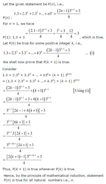 1.3 + 2.32 + 3.33 +…+ n.3n ={(2n − 1)3 n + 1 + 3}/4